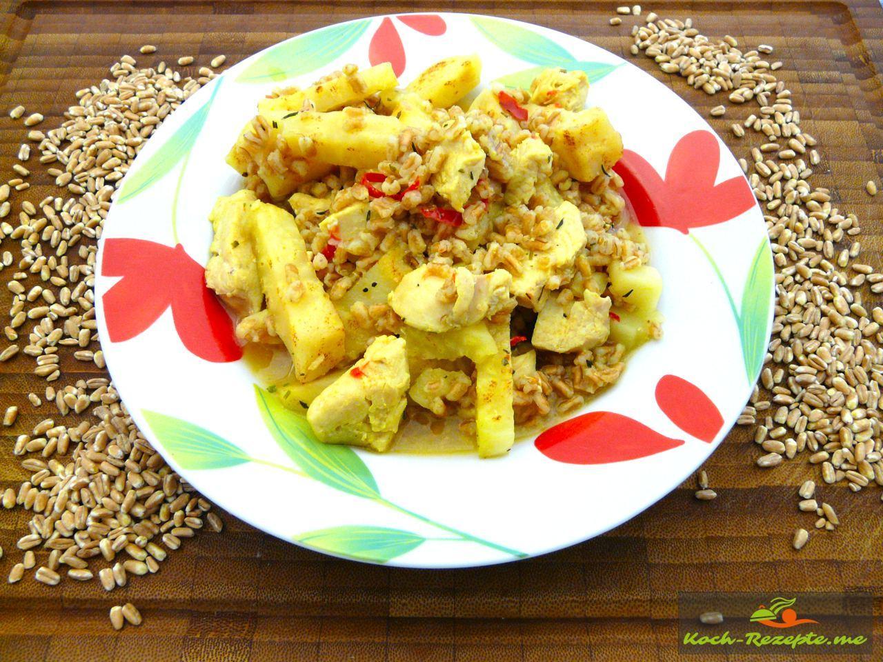 Dinkelkorn-Sellerie-Hähnchen Eintopf mit leichter Chilischärfe