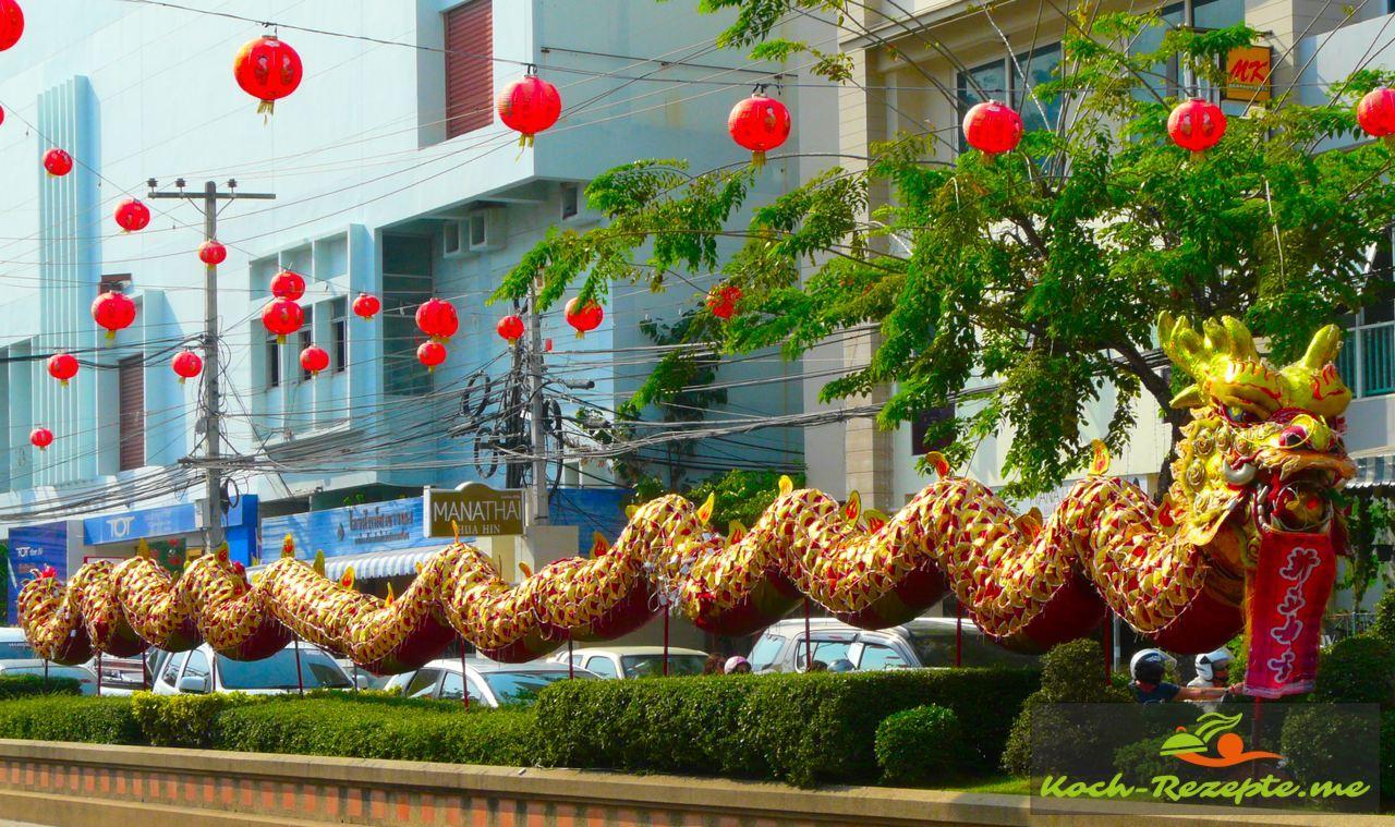 Chinesisches Neujahrfest 2559 Hua Hin Thailand Affen