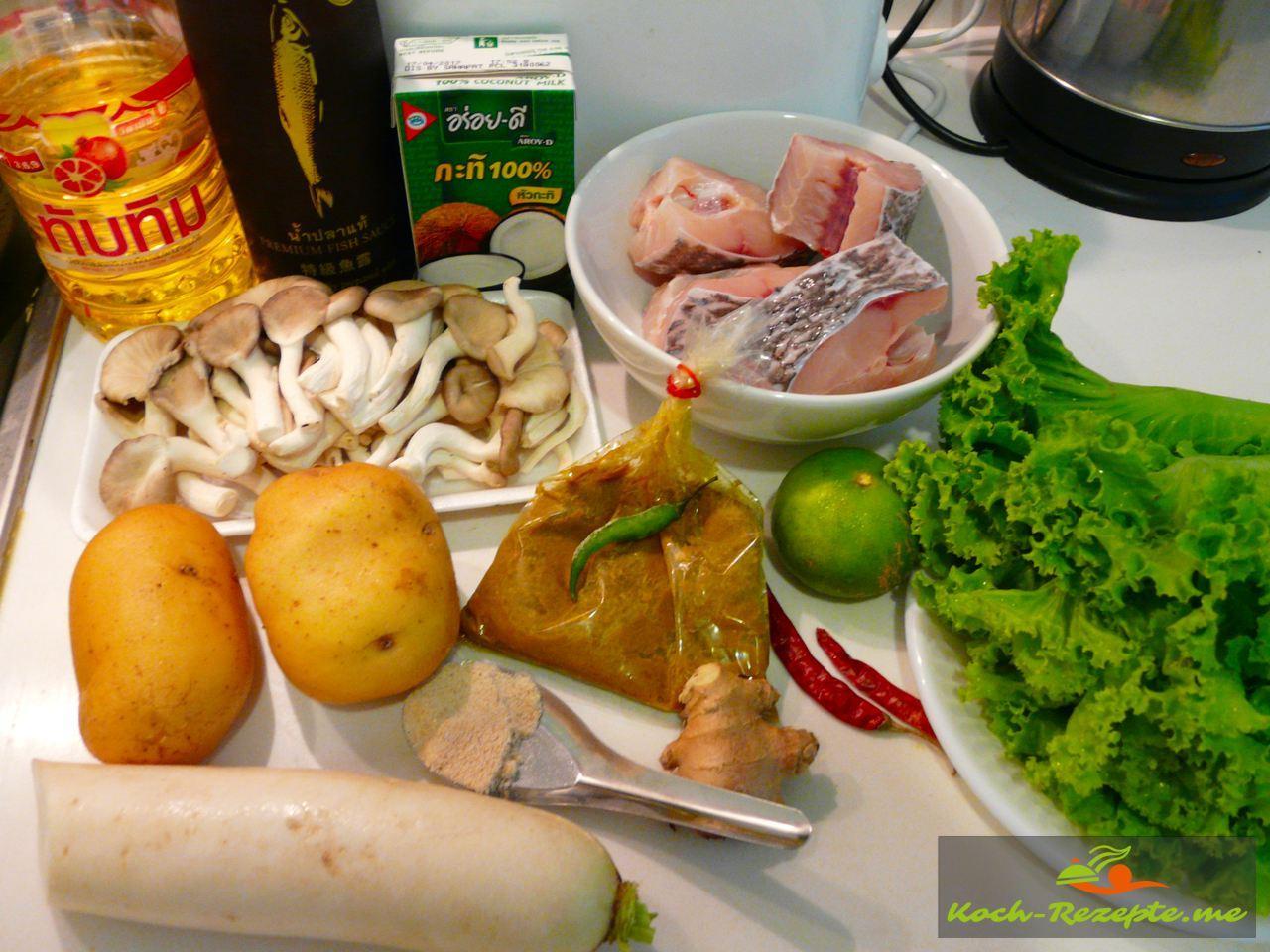 Die frischen Zutaten auf dem Markt eingekauft zum lecker kochen