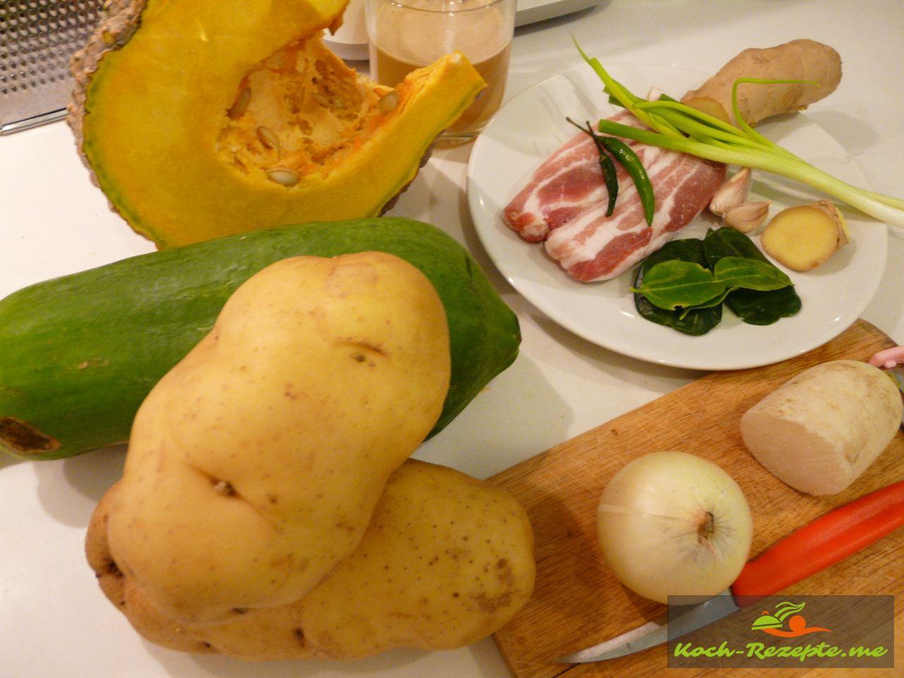 Zutaten für Pumpking-Papaya Gemüse Bratkartoffeln und Bauchspeck
