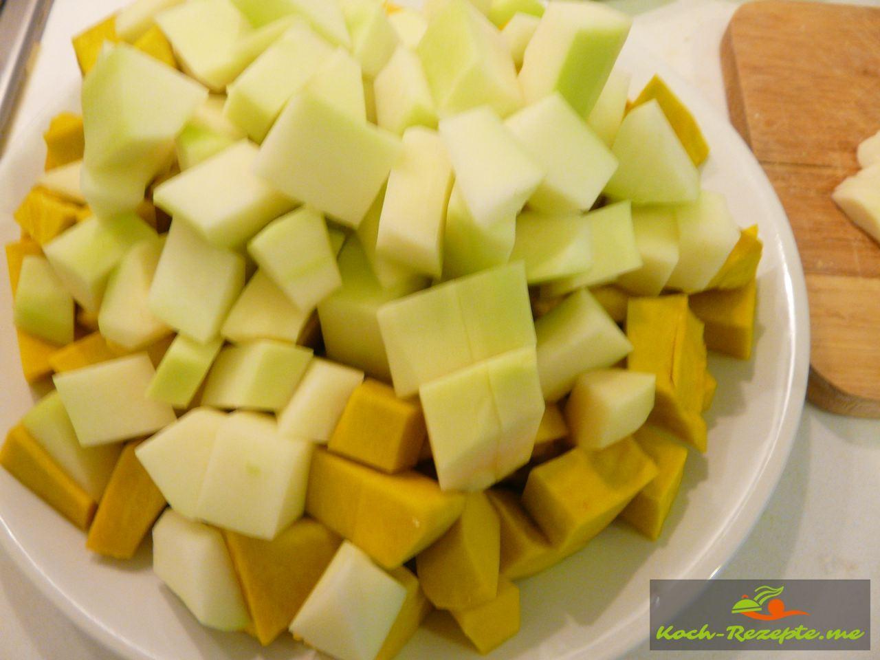 Pumpkin und Papaya gewürfelt