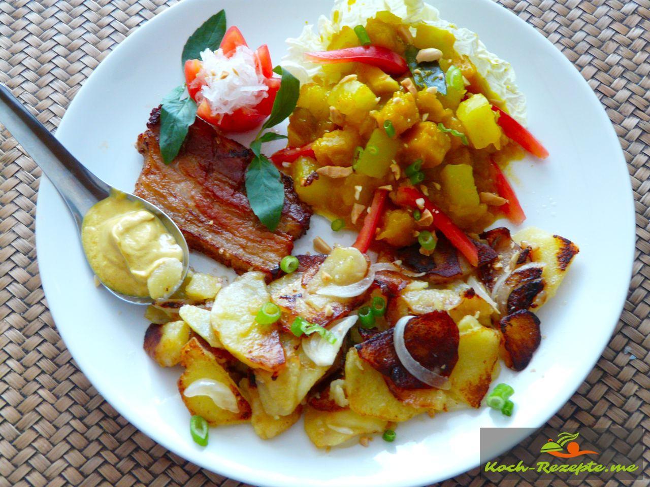 Pumpkin-Papaya Gemüse Rezept asiatisch, selber kochen.