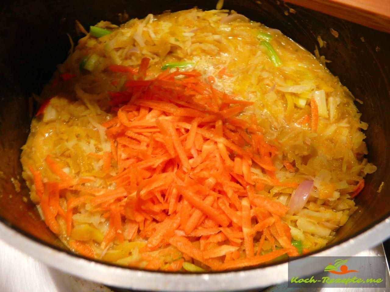 Thai Rezept Gemüse Nudeln Garnelen,Möhren dazu noch 3 Mintuen köcheln