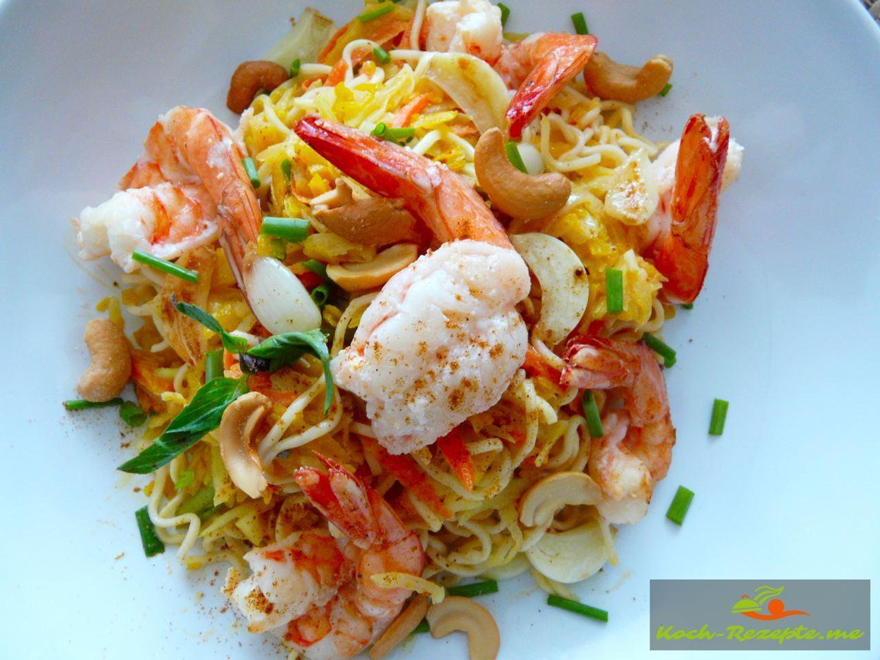 Thai Rezept Gemüse Nudeln Garnelen