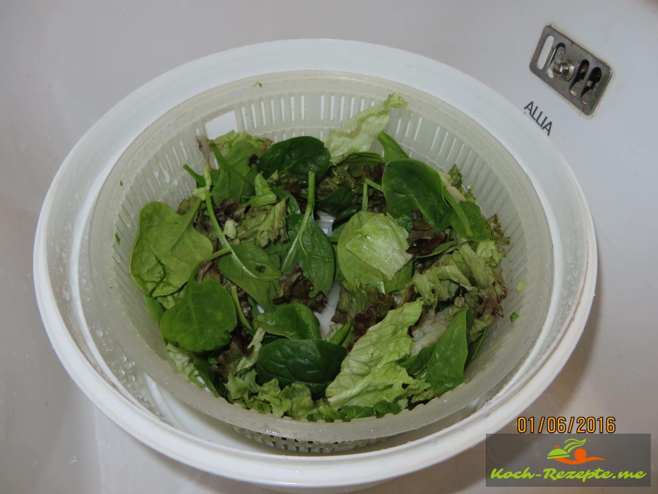 Gemischter Salat waschen und trocken schleudern
