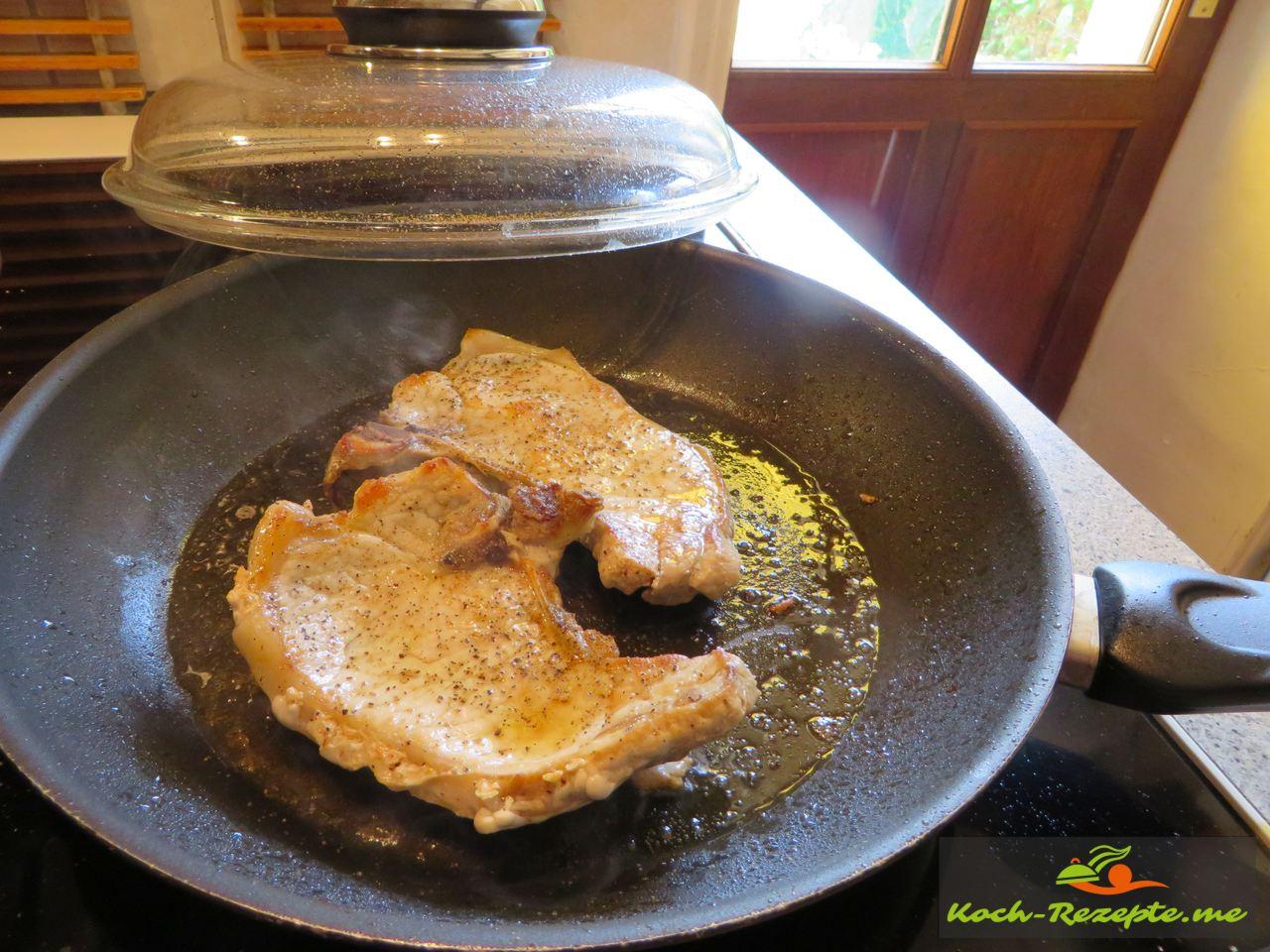 Kotelette braten für Geschmorte Endivie Rezept französisch
