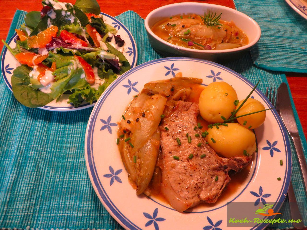 Warmen Teller anrichten  für Geschmorte Endivie Rezept französisch und guten Appetit