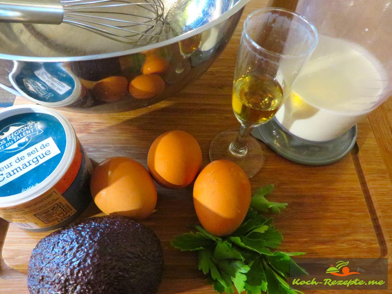 Zutaten für Sahne Sauce Normande Grundrezept