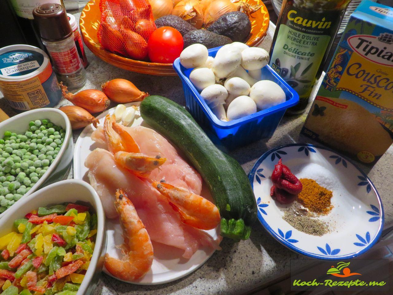 Zutaten Rezept Couscous Huhn Garnelen aus der schnellen französischen Küche.