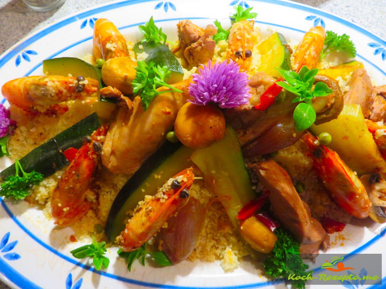 Rezept Couscous Huhn Garnelen aus der schnellen französischen Küche.