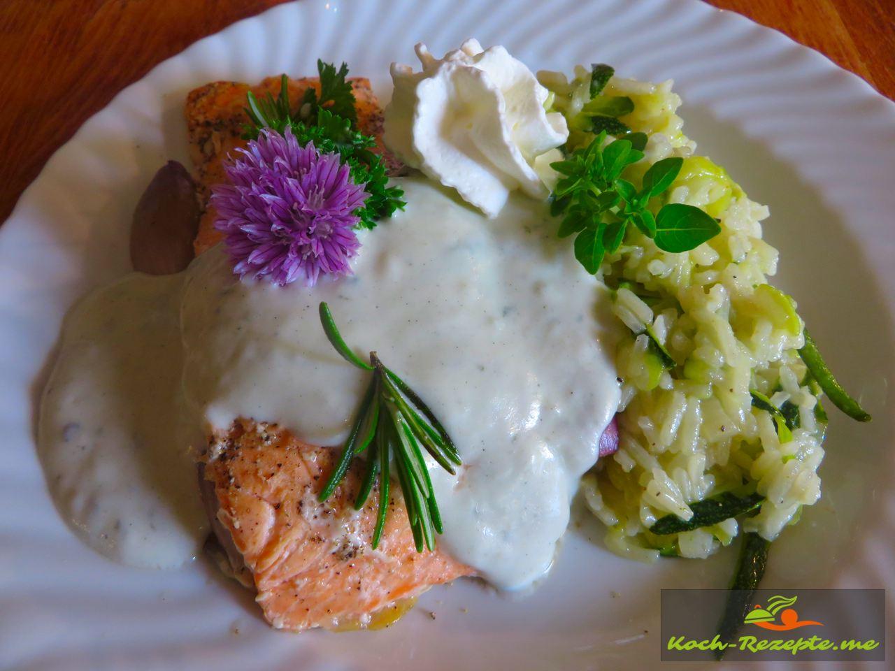 Lachspäckchen mit Reis Risotto-Zucchini