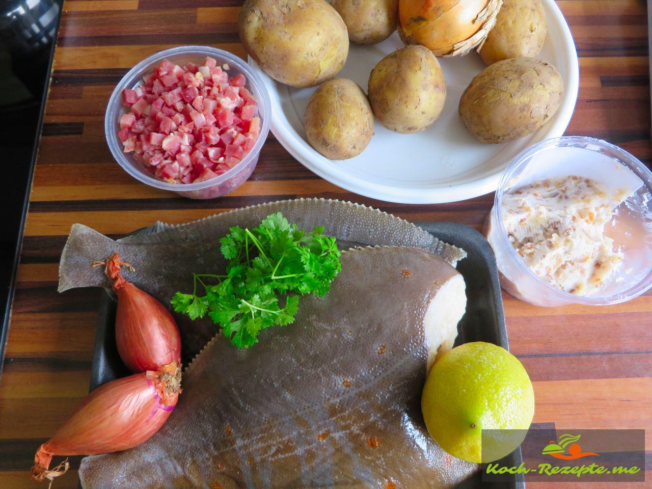 Zutaten für Finkenwerder Scholle klassisch mit Speck-Zwiebeln und Bratkartoffeln.