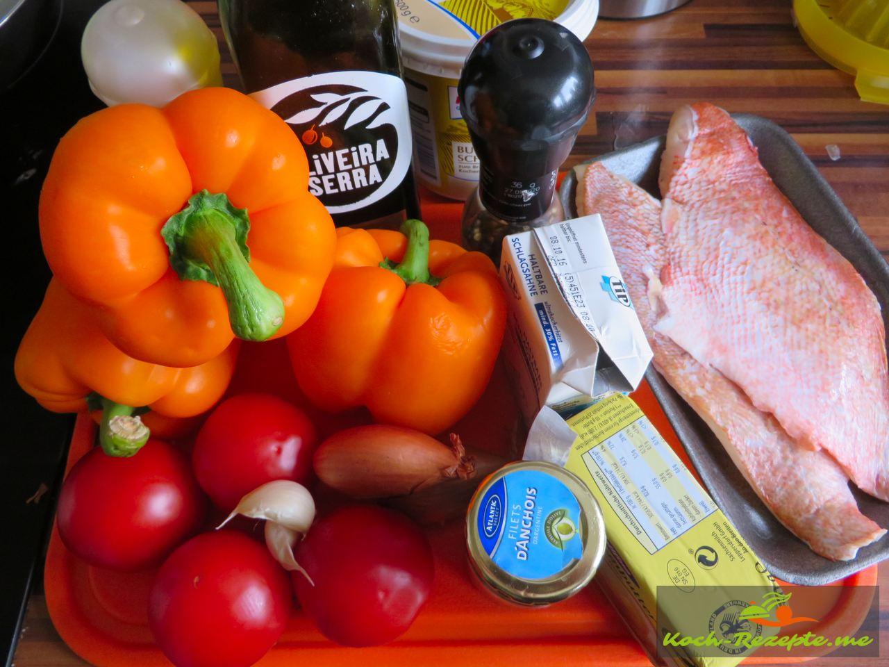Zutaten fürs paprikacoulis, Rotbarbe und Couscous