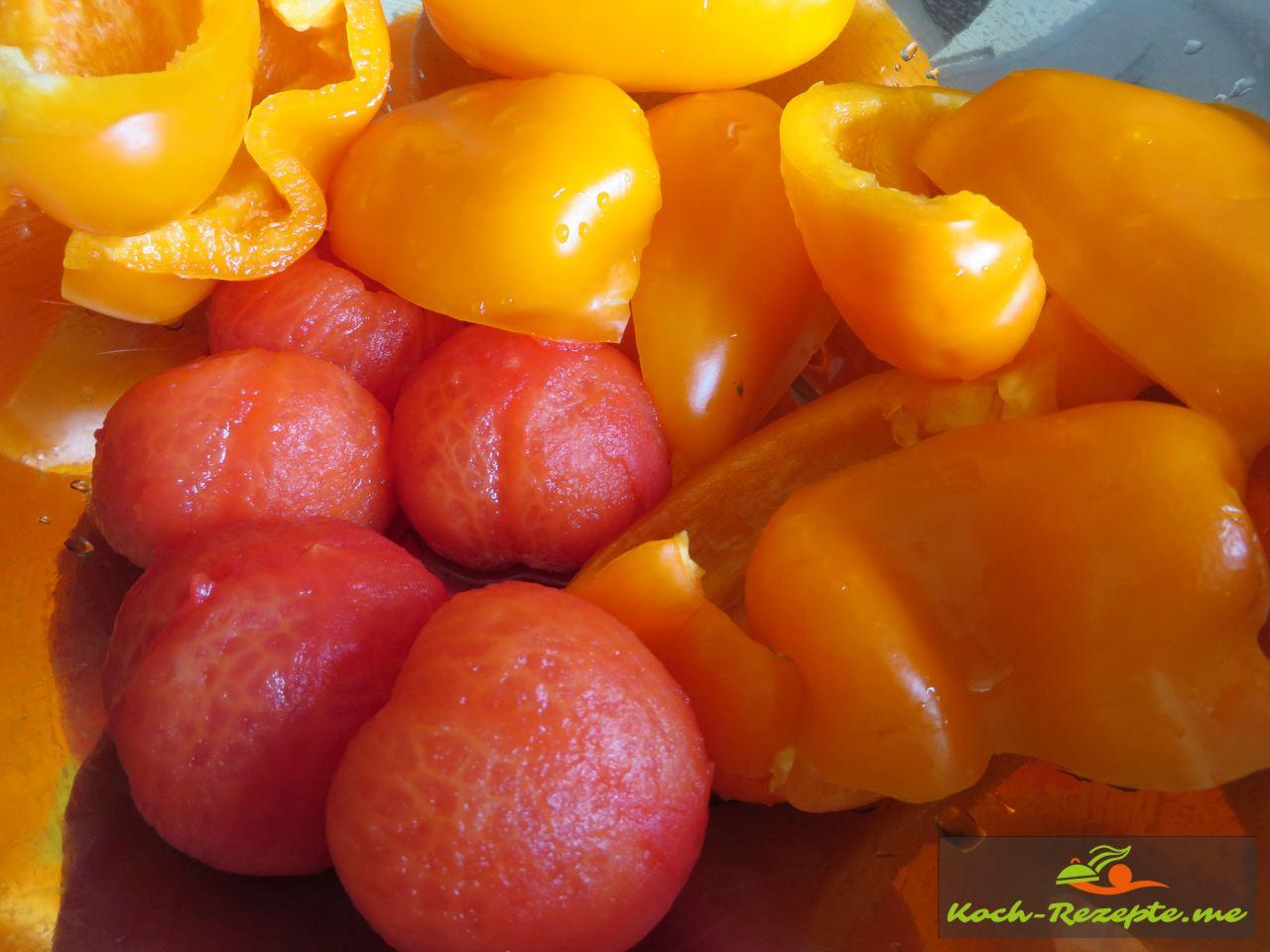 Paprika, Tomaten häuten