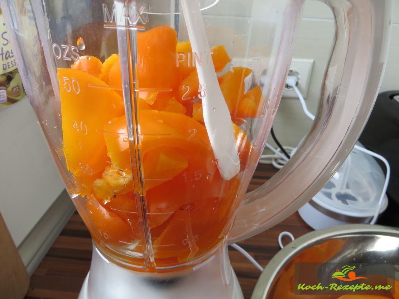 Alle Zutaten wie Paprika, Tomaten, Zwiebeln, Knoblauch und Sardellen in den Mixer geben und pürieren