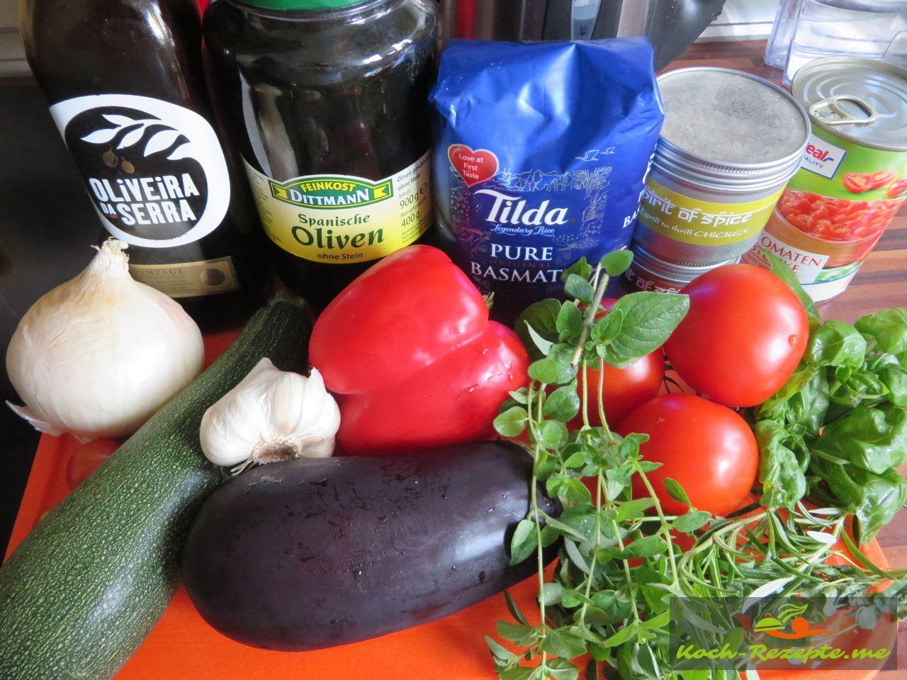 Zutaten  mediterranes Gemüse mit Hähnchen