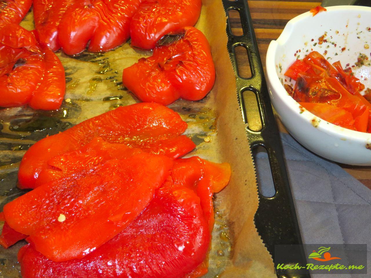 Paprika Haut abziehen für die Ajvar selber kochen