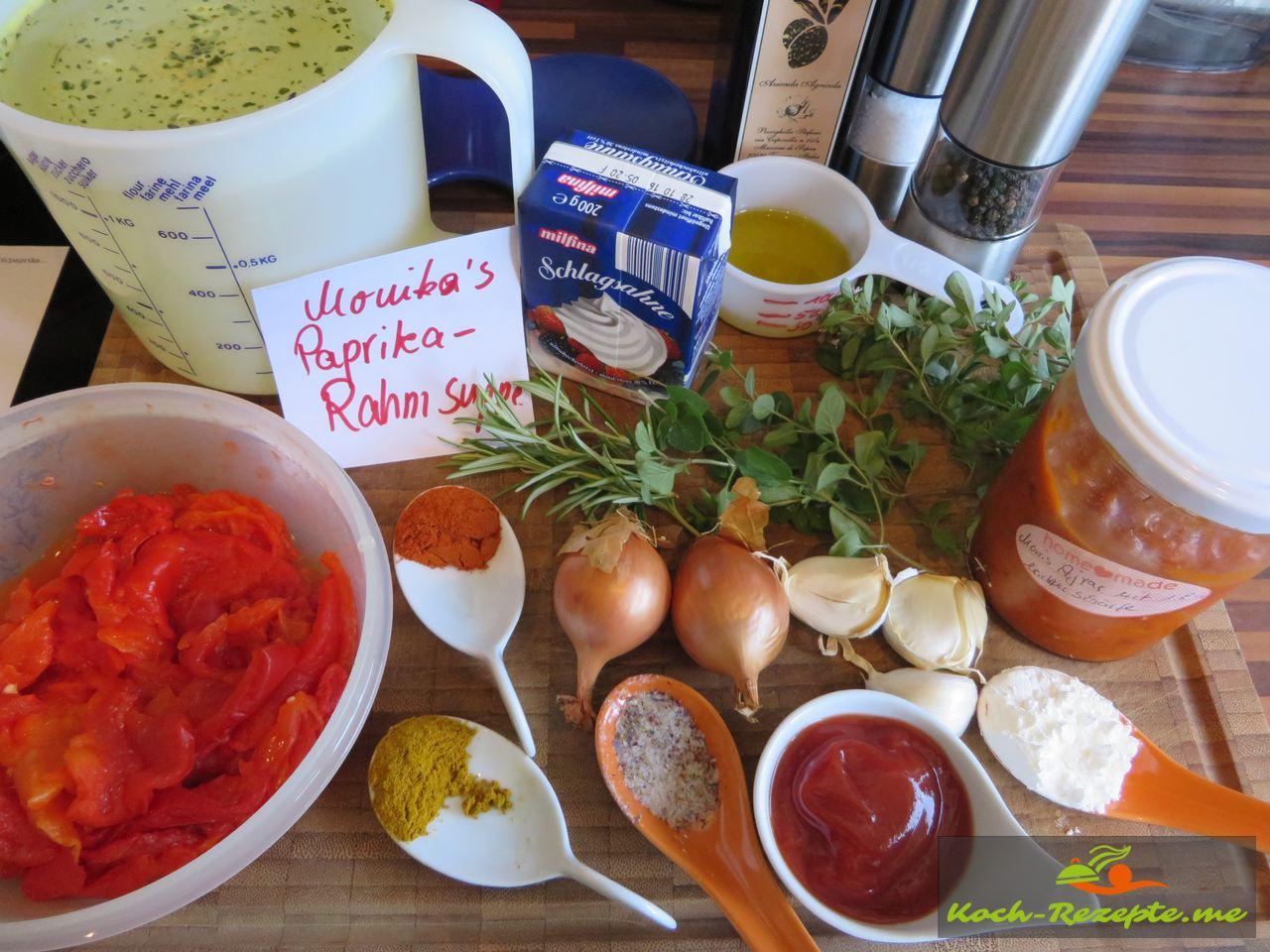 Zutaten Paprika-Rahmsuppe