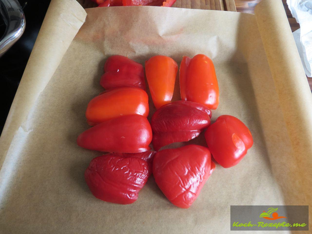 Ein Päckchen mit den Paprika machen