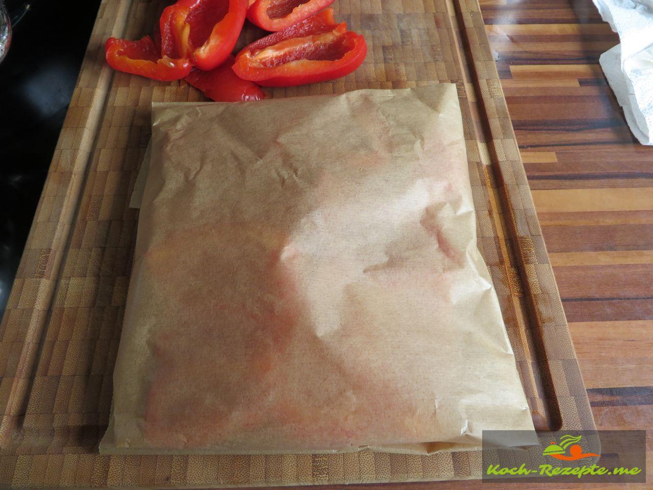 Fertiges Päckchen der roten Paprika