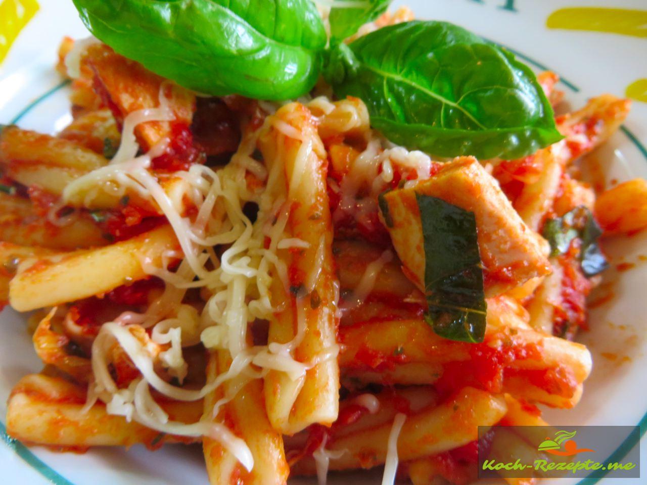 Fertig ist das Hauptgericht Pasta Grillhuhn Rezept