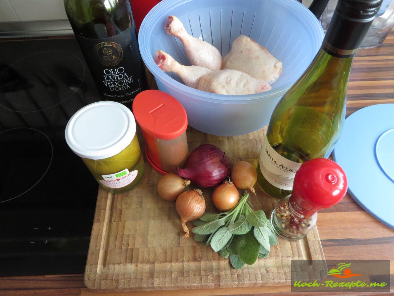 Zutaten für Salbei-Huhn mit Salz-Zitrone ein feines Rezept aus Marokko.