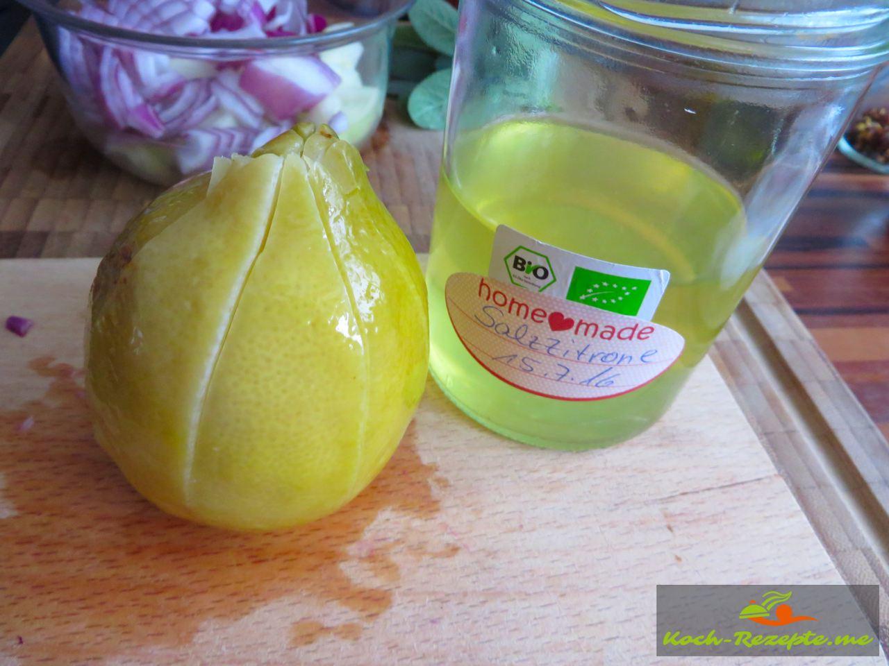 Salz-Zitrone 6 Wochen in Salz eingelegt