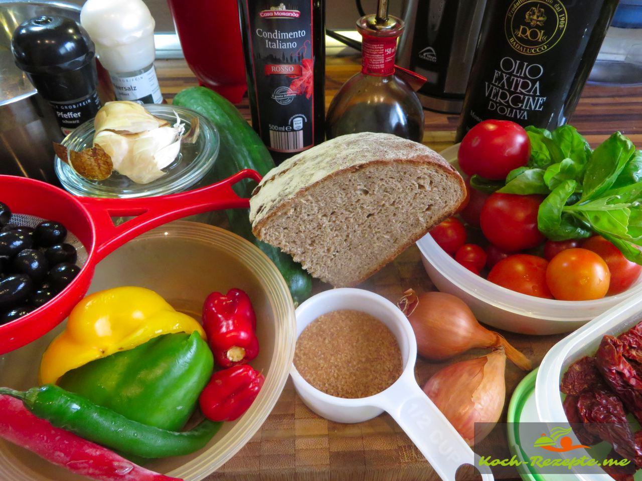 Zutaten für einen Brotsalat Rezept