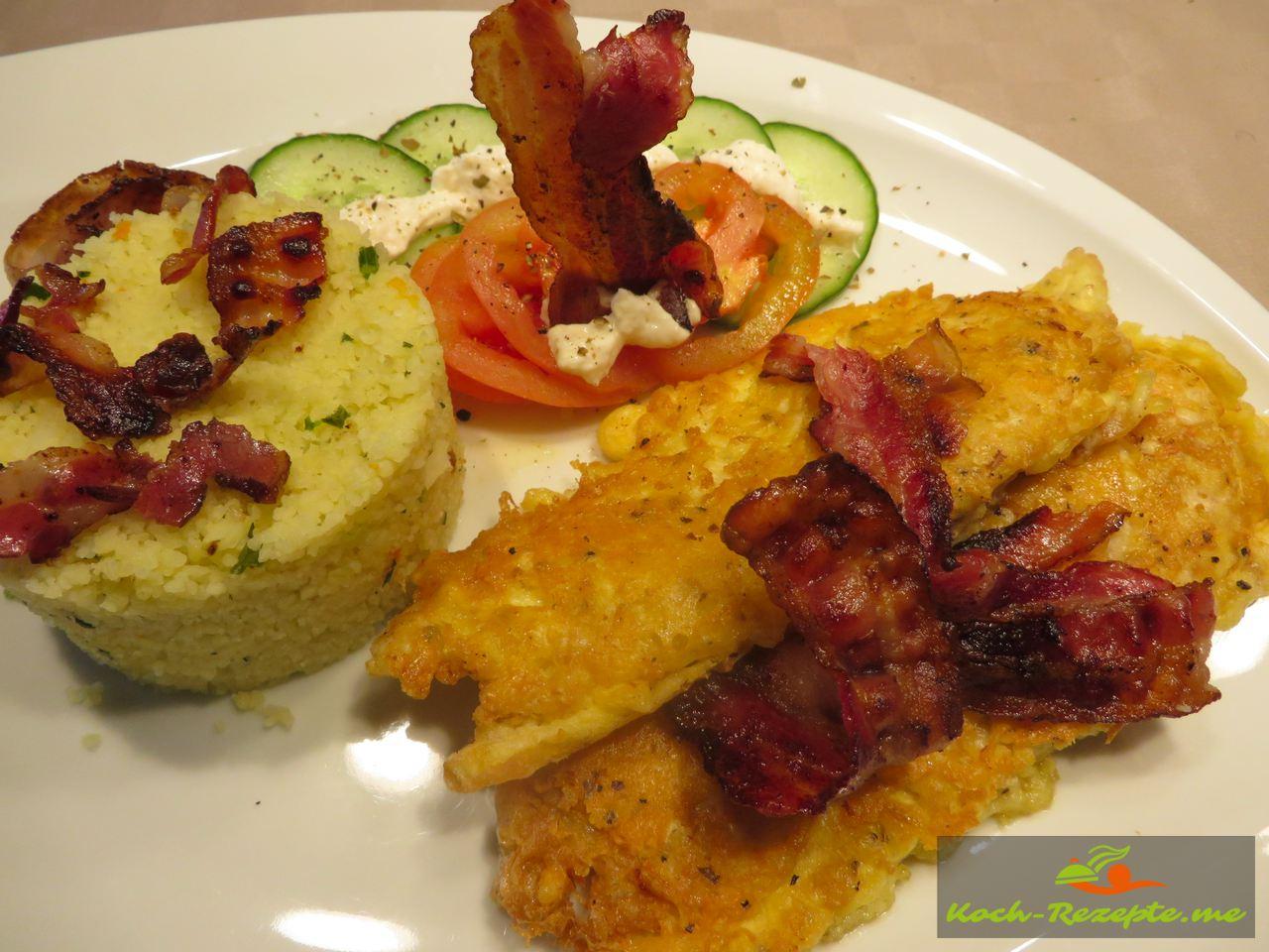 Hauptgericht Plattfisch Pecorino Ei Panade mit Vegetable Couscous und Bacon.