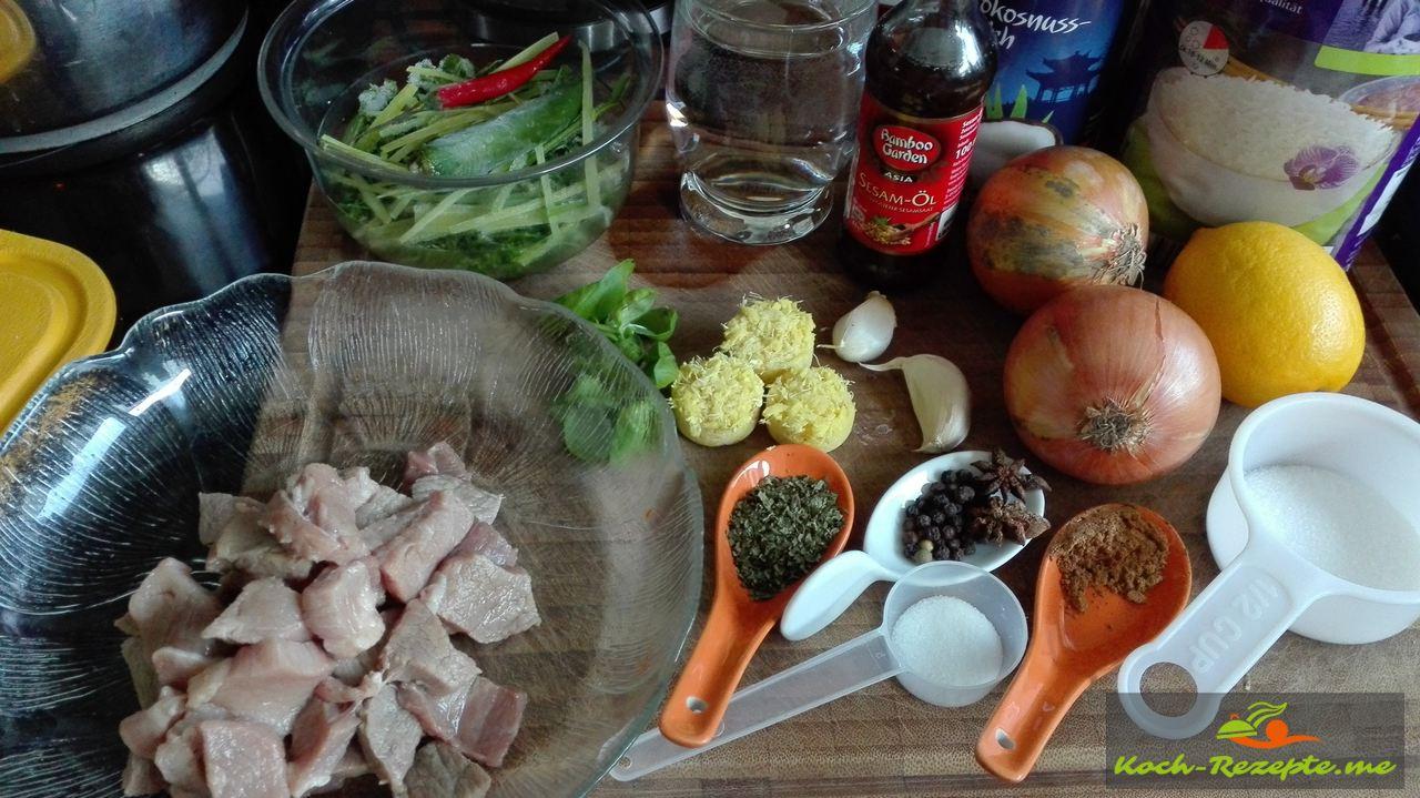 Zutaten für Schweinefleisch Ingwer Sauce