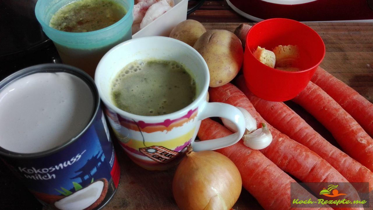 Zutaten für Möhren-Ingwer-Kokossuppe, Rezept mit Glasnudeln asiatisch.