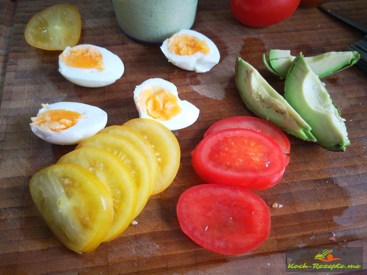 Harte Eier halbieren
