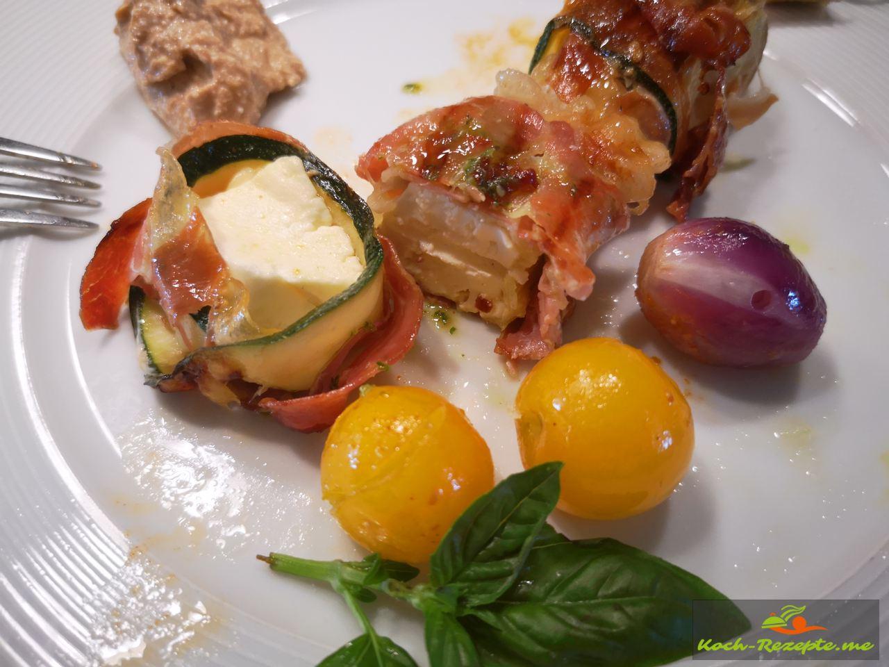 Fertige Schinken-Zucchini-Käse Päckchen