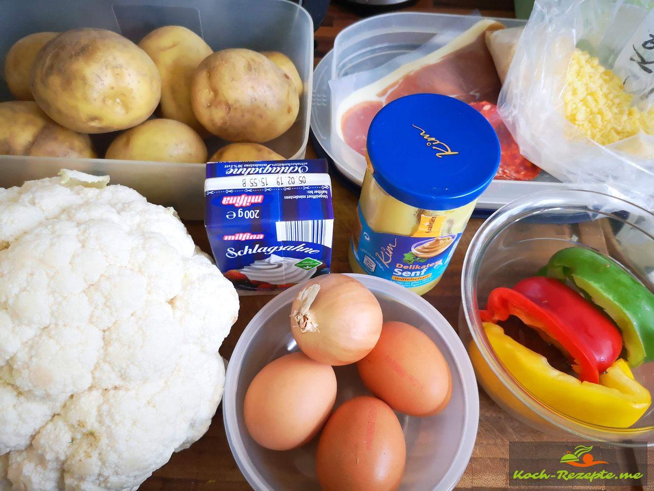 Zutaten für Kartoffelgratin mit Blumenkohl und Eiersahne gebacken