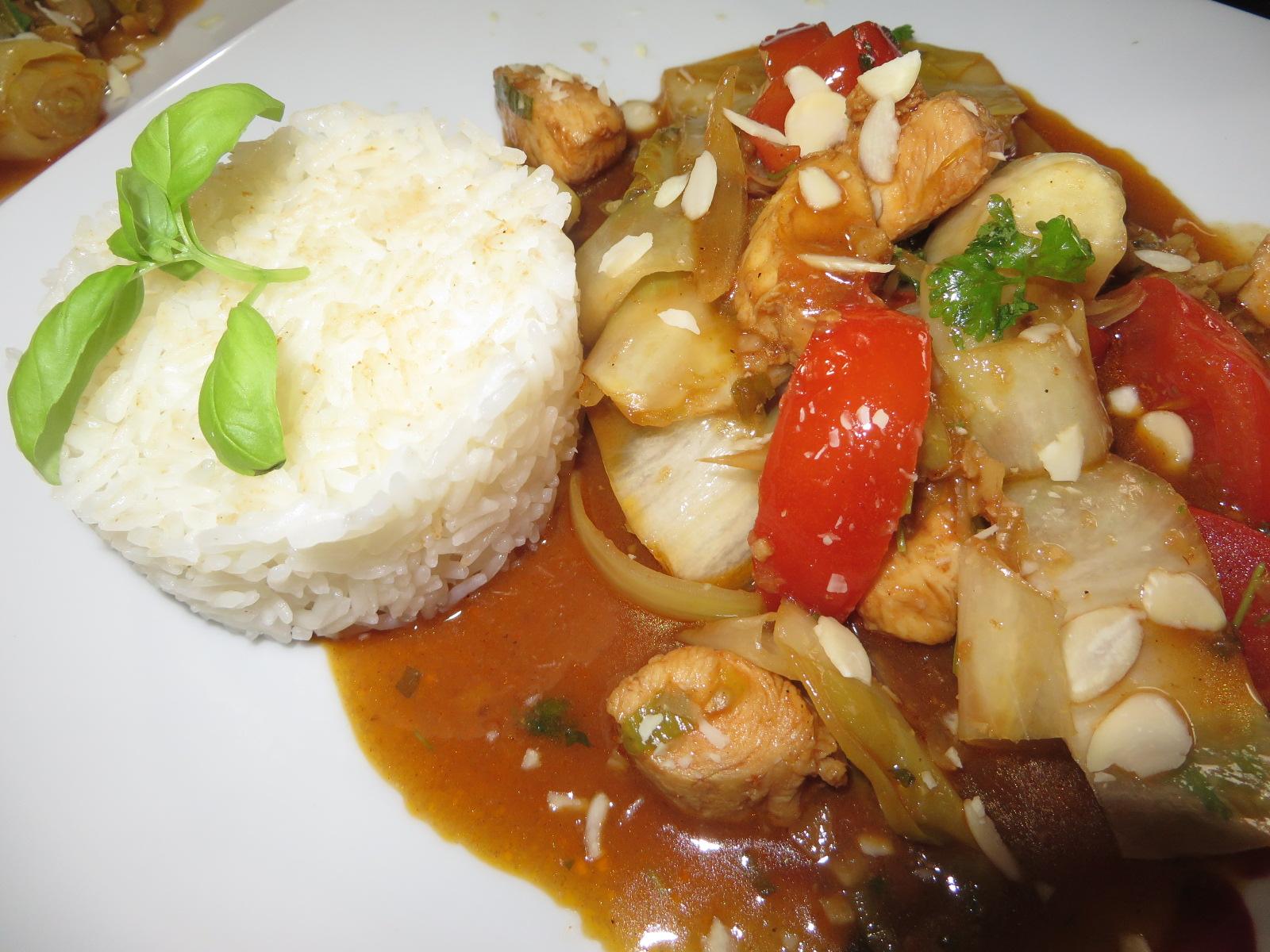 Chicorée Wok Rezept mit Hähnchenbrust gebraten sehr gesund