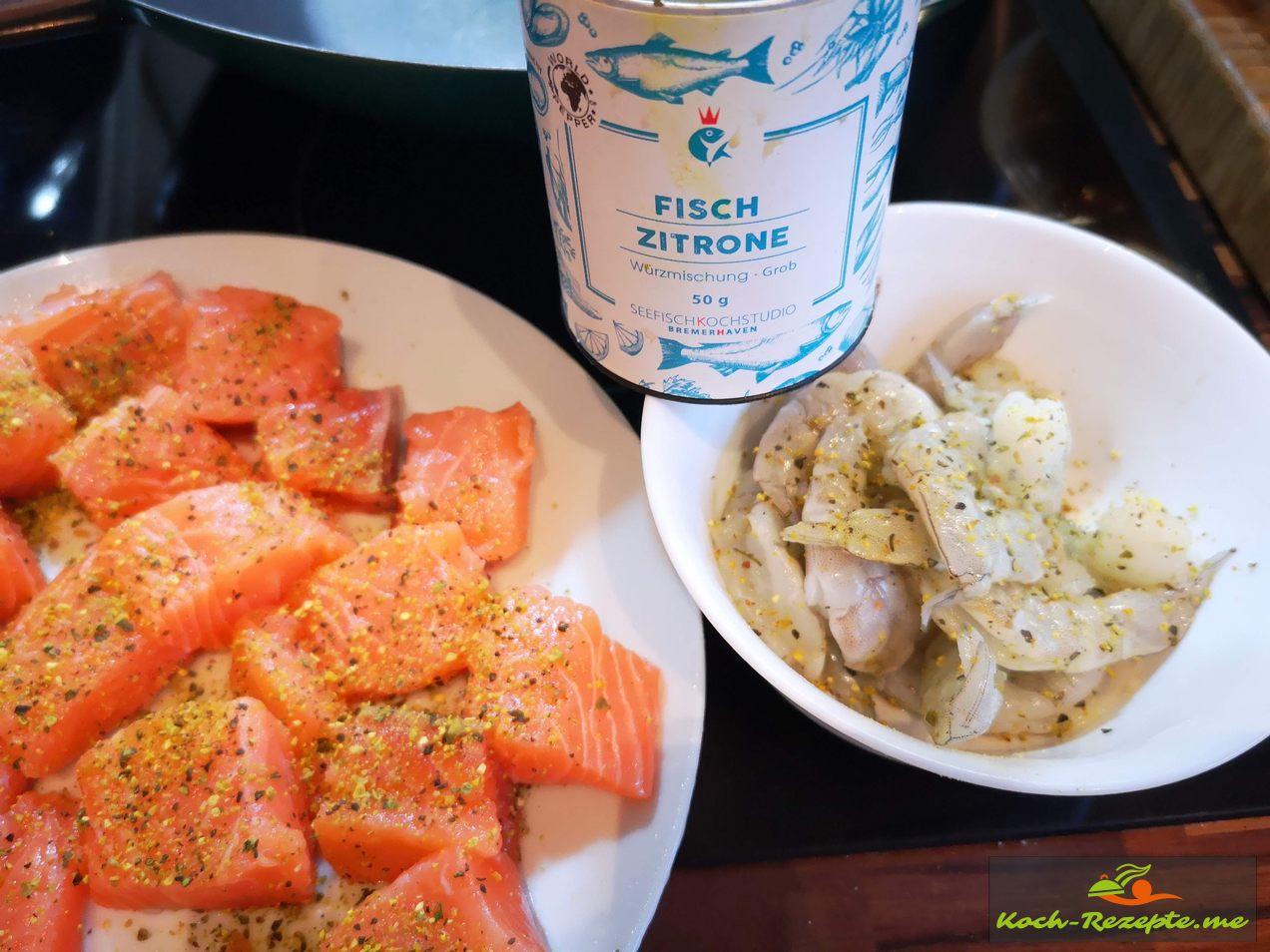 Zutaten  Lachs und Garnelen mit Zitronen Pfeffer würzen