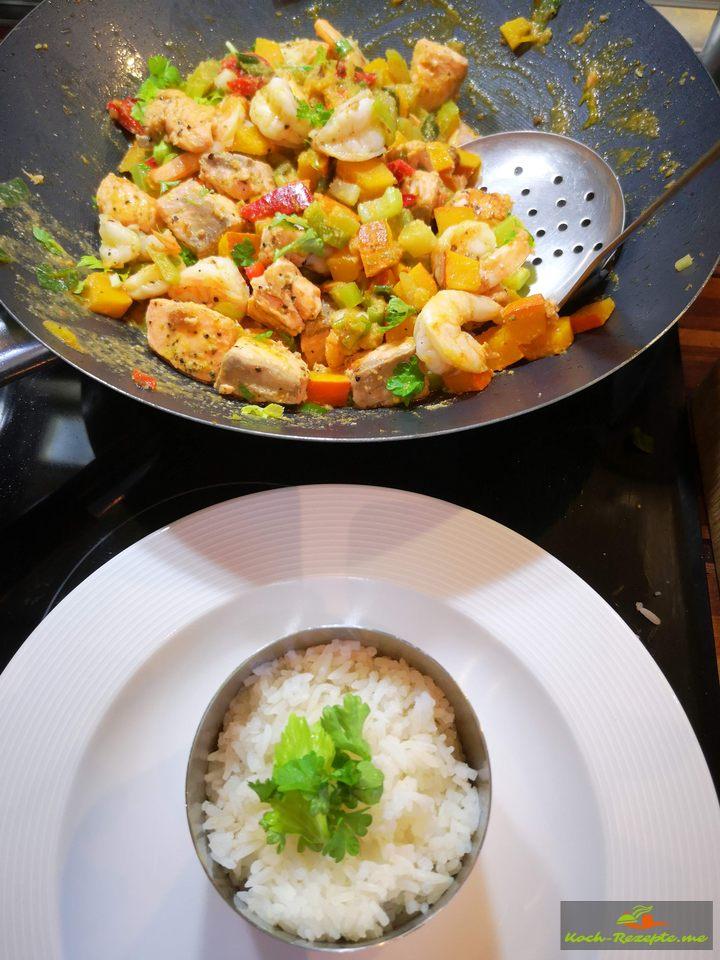 Fisch-Kürbis-Curry mit Reis