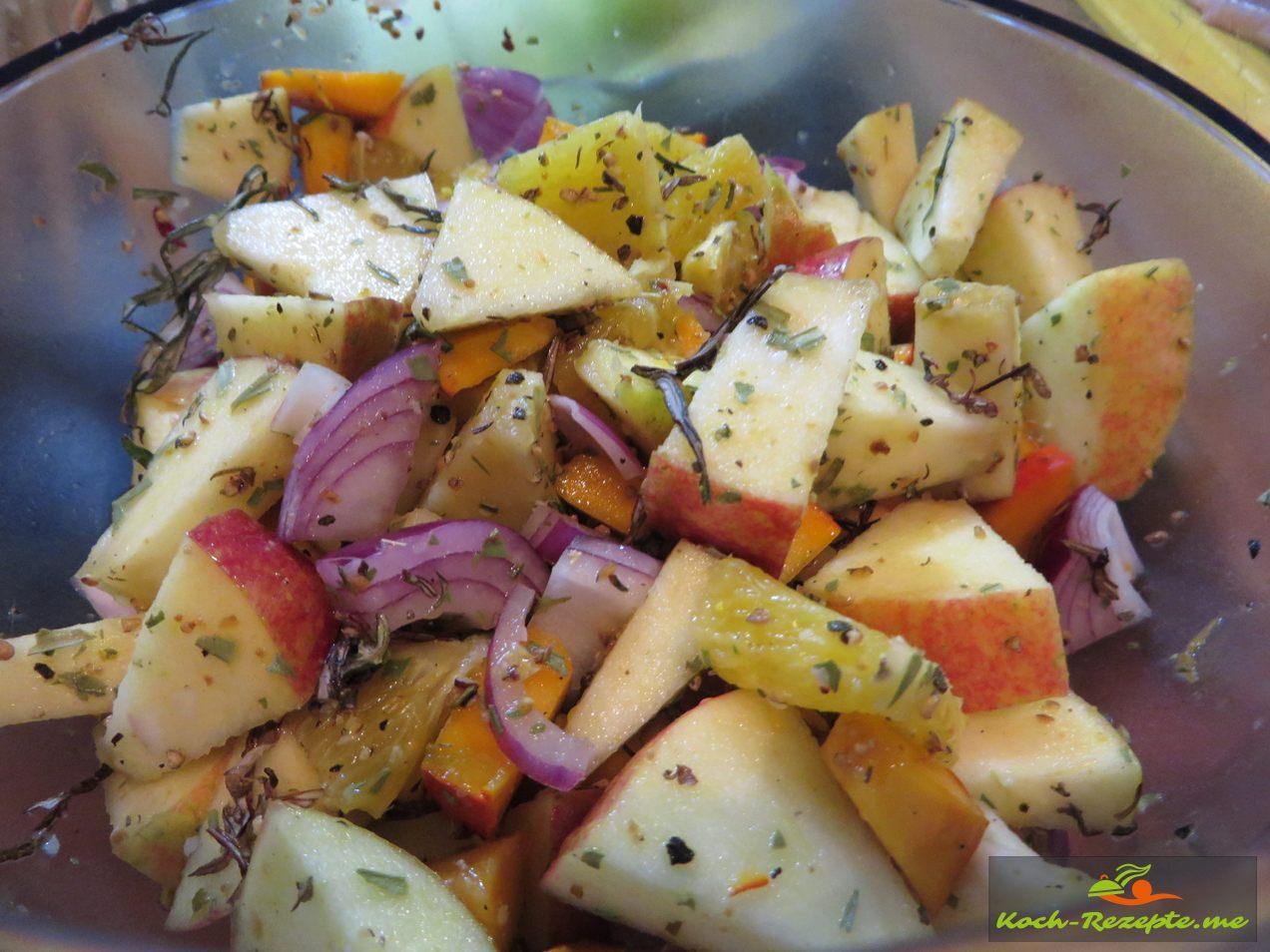 Obst würzen mit Beifuss, Estragon, Zimt,Nelke,Pfeffer und Salz
