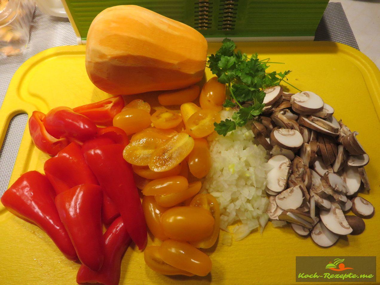 Zutaten für den Süßkartoffel- Hähnchen Auflauf