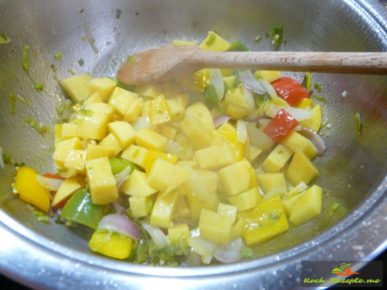 Zutaten andünsten Kartoffelwürfel