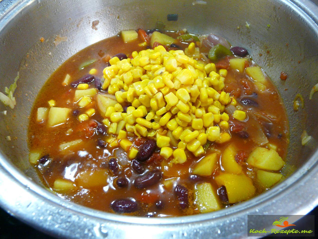 Succotash  mit Mais  in den  Eintopf.