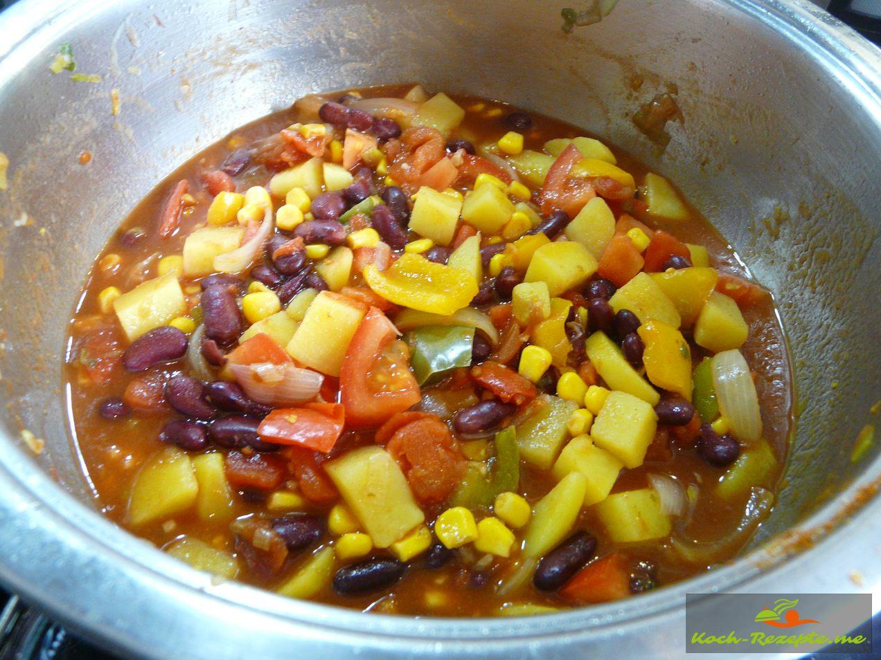 Succotash ein Nord Amerikanischer, indianischer Bohnen-Mais Eintopf.
