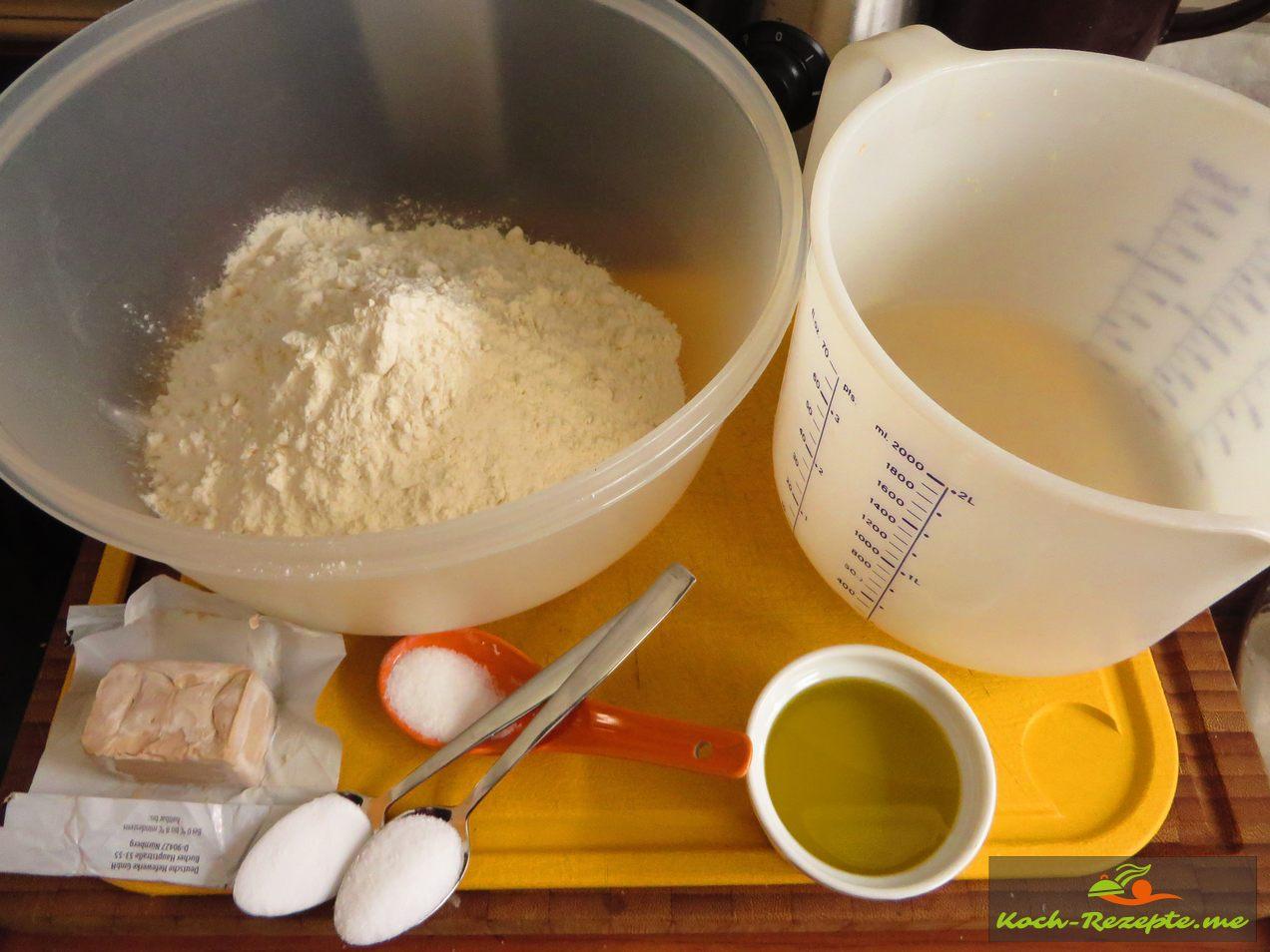 Zutaten für Puccia, gefülltes Brot