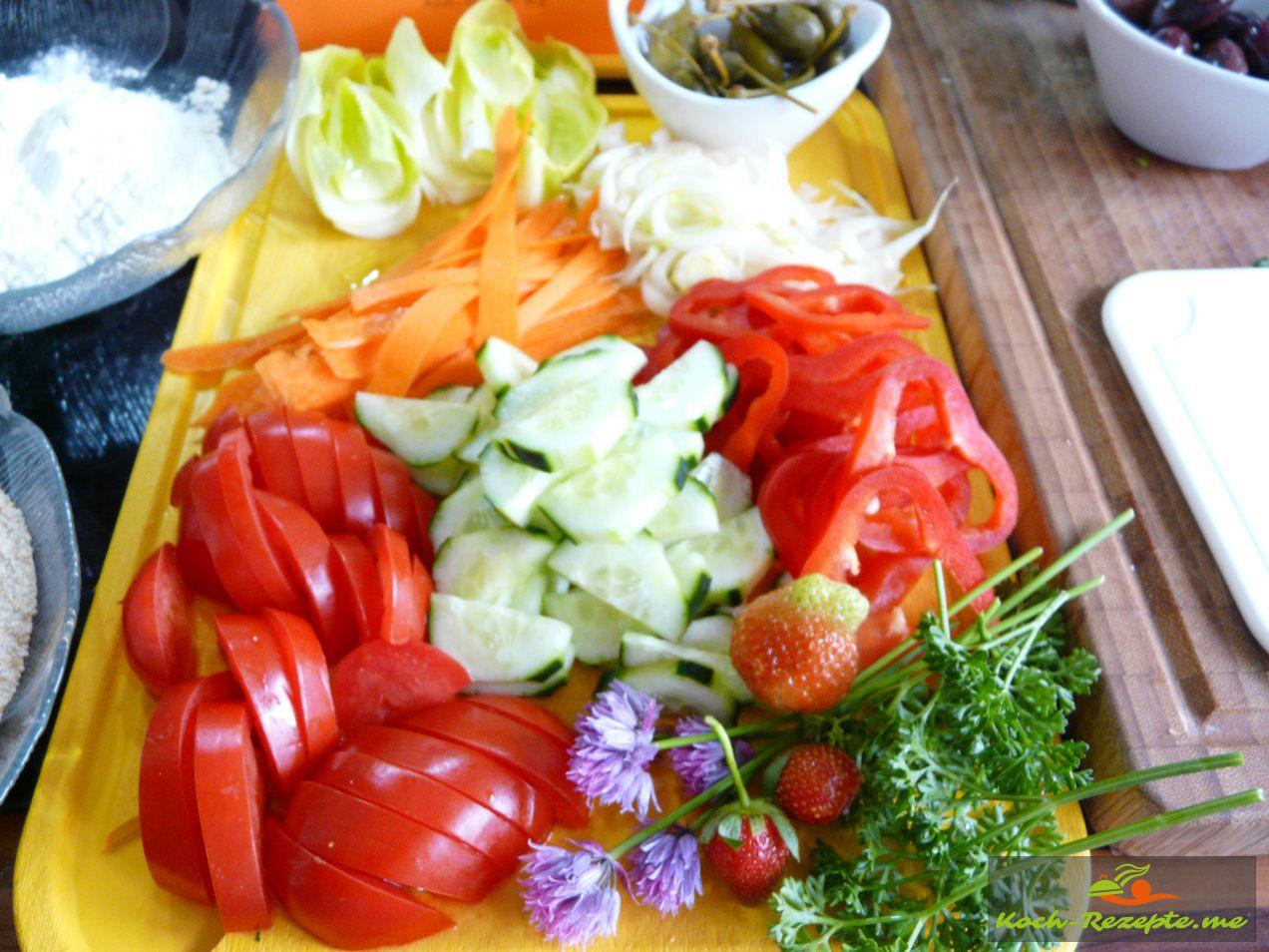 alles an Salat und Gemüse was in den Salat muss