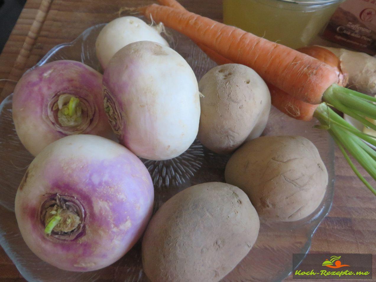 Zutaten für Mairübchen Suppe: Mairübchen, Möhren, Kartoffeln