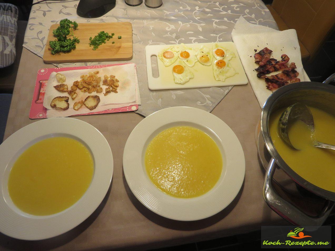Mairübchen Suppe pro Portion ohne Einlagen vegetarisch 365 Kalorien