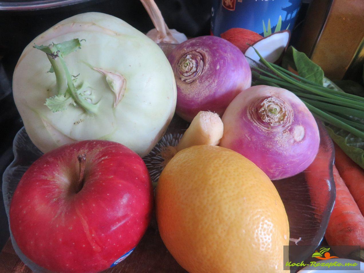 Frisches Gemüse und Obst Zitrone, Apfel, Kohlrabi, Mairübchen
