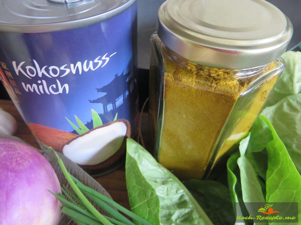 Kokosmilch und Curry