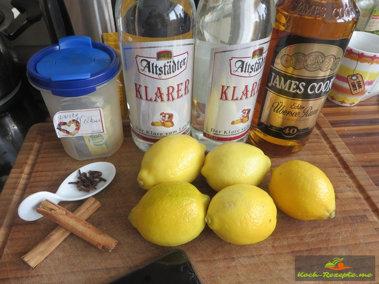 Zutaten Nelken, Zimtstangen,Weizenkorn,Rum und Zitronen