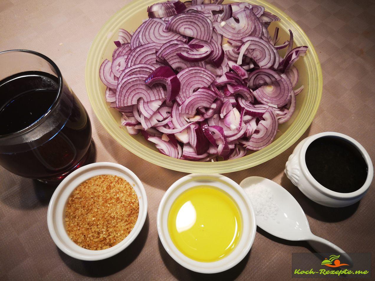 Zutaten: Wein, Balsamico Essig, Pfeffer ,Salz, Öl ,Zucker , Oregano,Chili und Zwiebeln